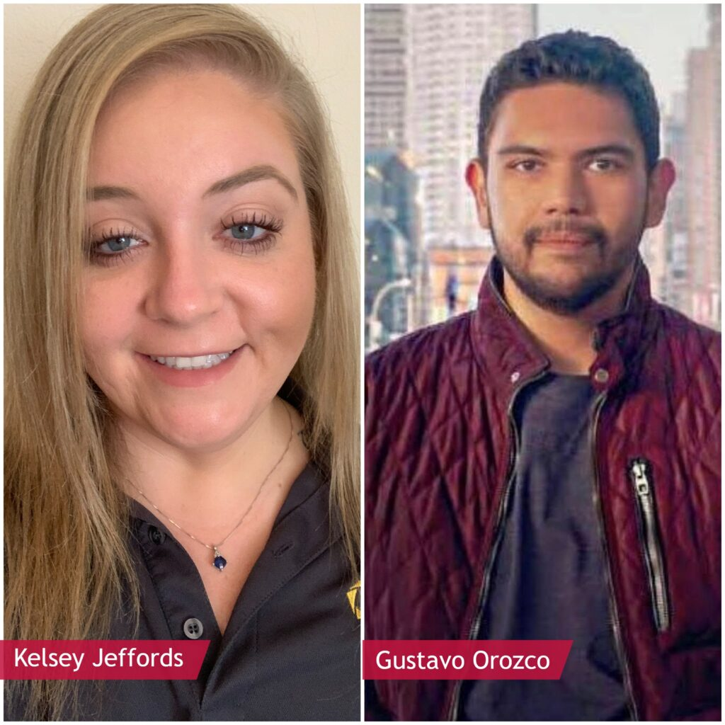 Female recruiter, Kelsey Jeffords and male recruiter, Gustavo Orozco.