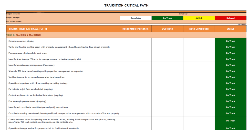 Transition Critical Path Example