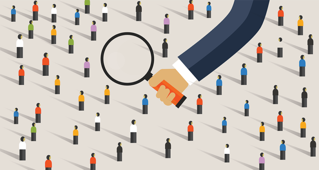 Graphic of magnifying glass over a crowd of people icons