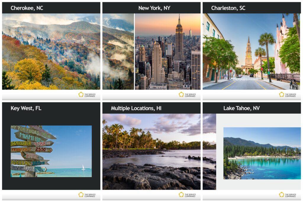 Landscape photos of Cherokee, New York, Charleston, SC, Key West, FL, Hawaii and Lake Tahoe, NV