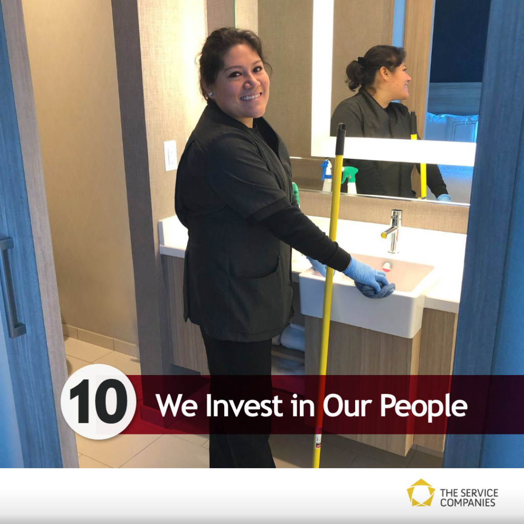 We invest in our people! Picture of a housekeeper.