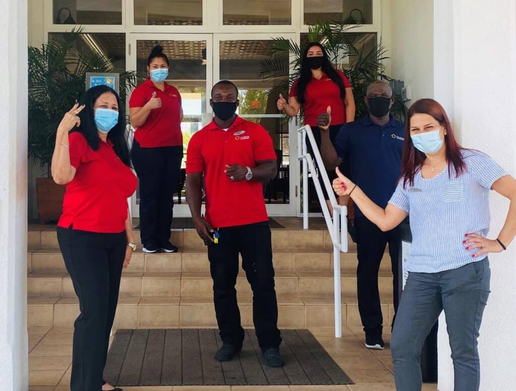 Team outside wearing masks