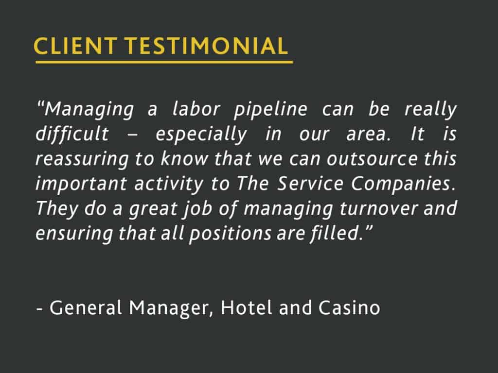 hotel and casino client testimonial