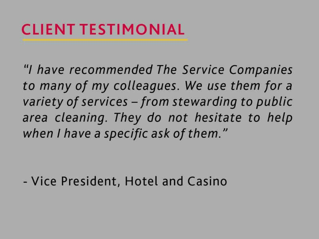 testimonial from a vice president of a hotel and casino