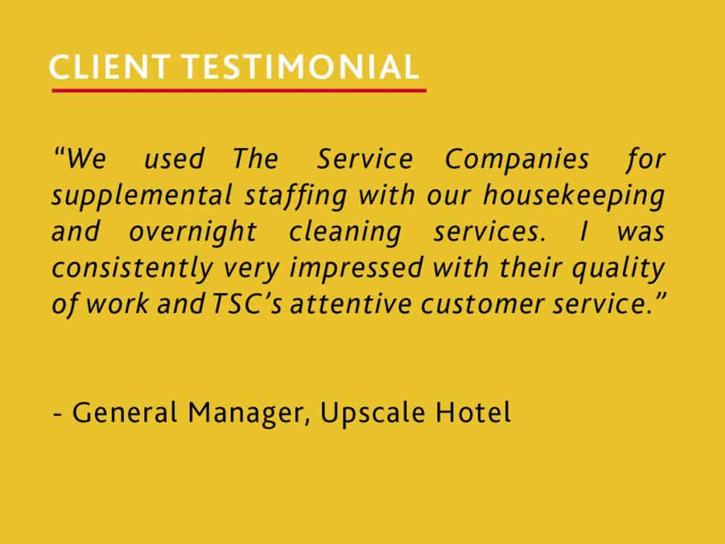 client testimonial from a general manager of an upscale hotel