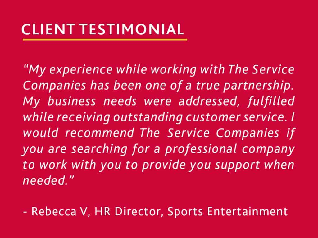 client testimonial from HR director at a stadium