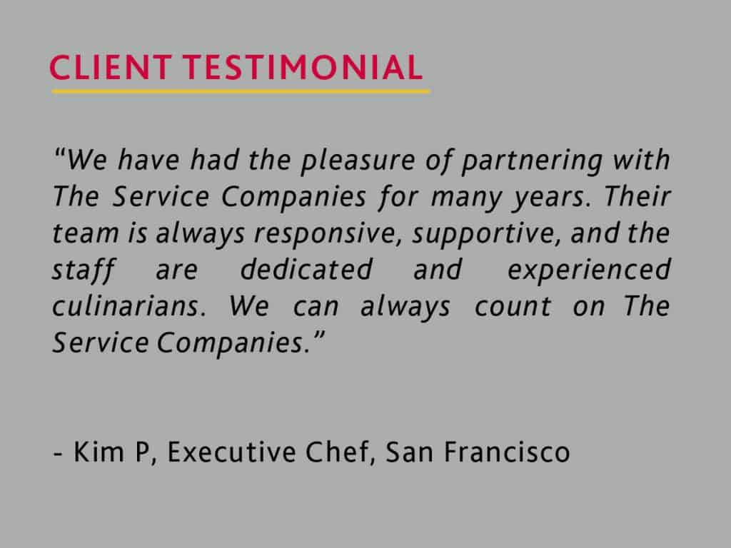 client testimonial from an executive chef