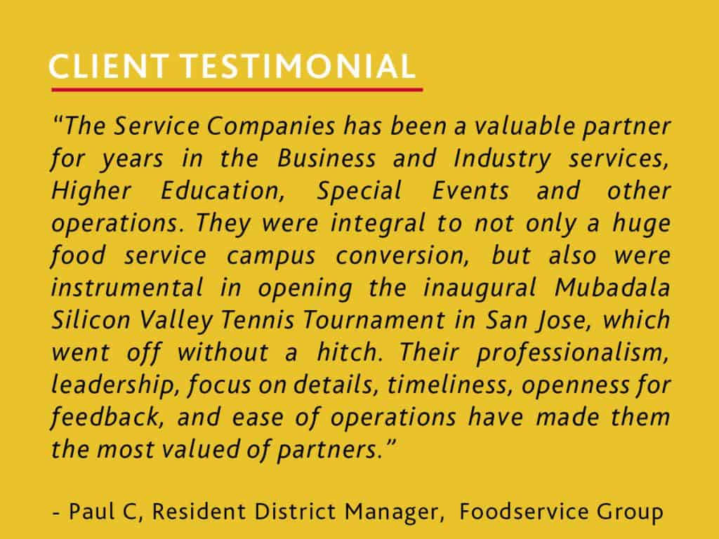 foodservice client testimonial