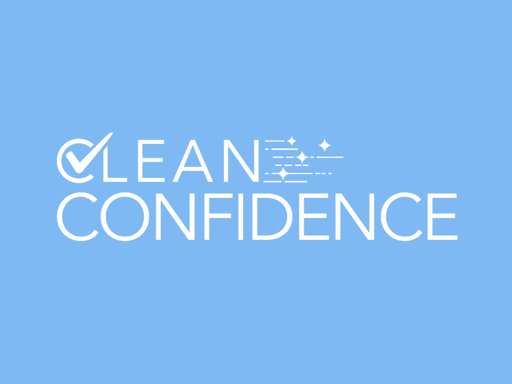 clean confidence logo on blue background